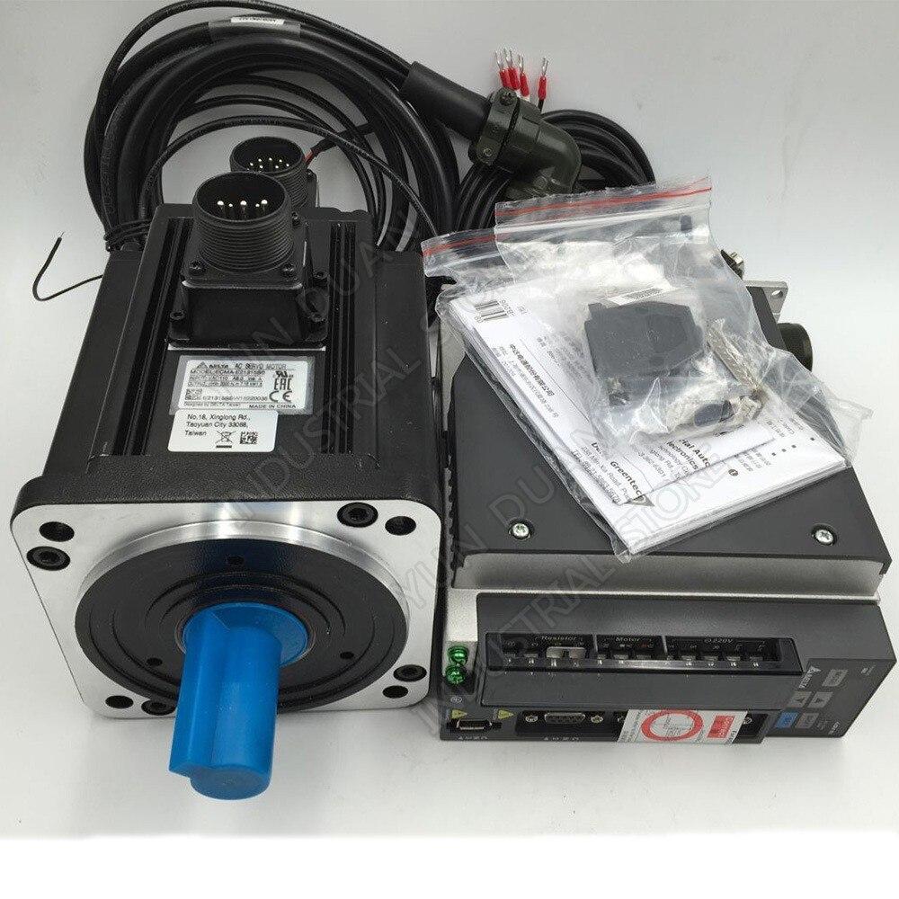 Nouvelle Delta AC servo motor drive kit avec frein NEMA42 1500 w 1.5KW 7.16NM 2000 rpm 130mm ASD-B2-1521-B ECMA-E21315SS et 3 m Câble