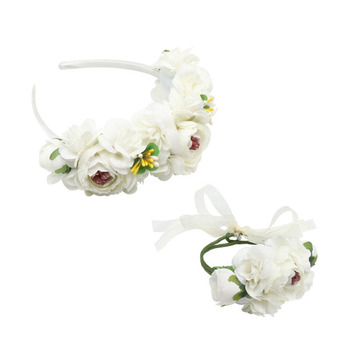 New Artificial Garland Floral Crowns Flower Hairband Wreath Bracelet Wedding Birthday Party Decorations for Kids Girls Women