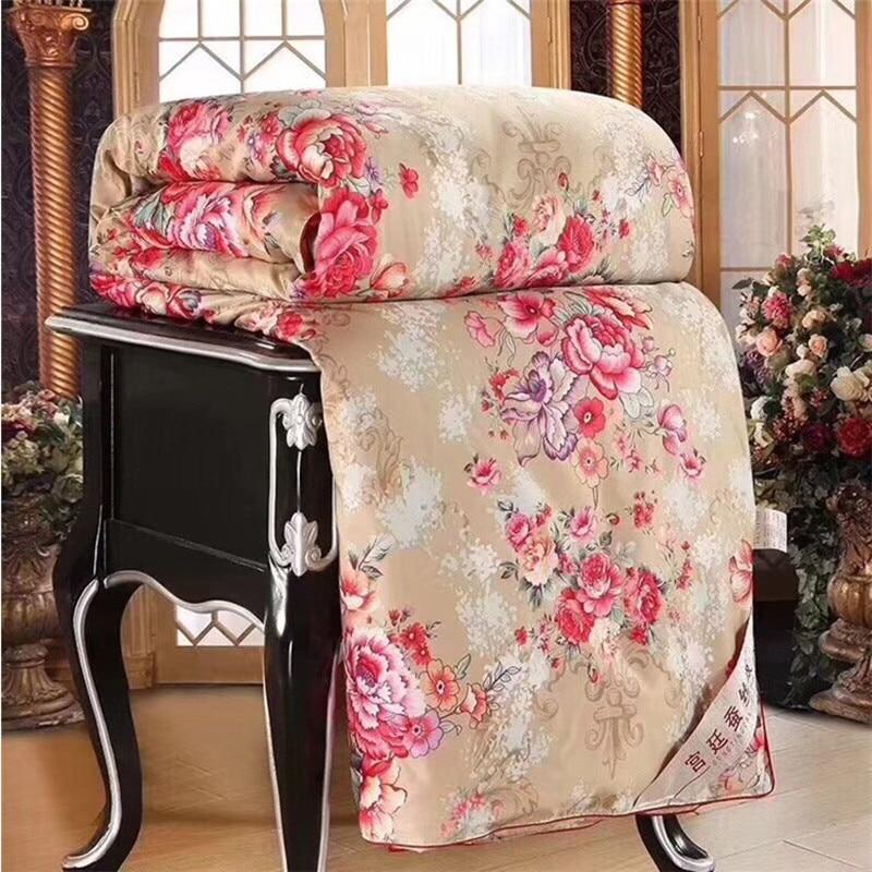 3D fleur impression Mulberry soie couverture printemps automne chaud doux Patchwork couette double reine roi Floral couette courtepointes