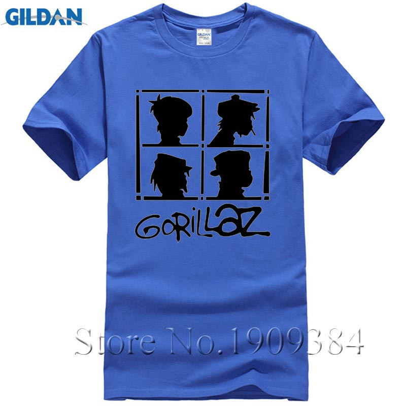 70e8f59d6 Gorillaz Rock Band Rap Hip Hop Men's Graphic T Shirts Casual Cotton Tops  Tees Summer Style Brand Clothing Streetwear Camisetas