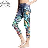 Hot Sale Women Sports Leggings Fitness 3D Print 9 Color Plus Size Capris High Elastic Breathable