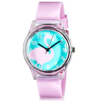 Willis For Mini Kid S Student S Fashionable Swan Pattern Analog Wrist Watch