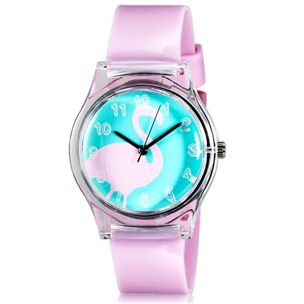 Willis for Mini Kid's Student's Fashionable Swan Pattern Analog Wrist Watch