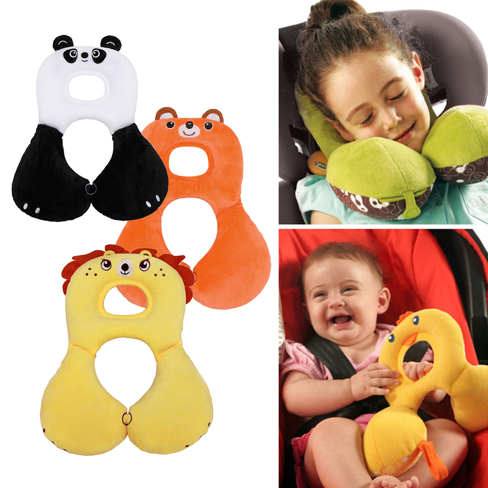 Soft Baby Safety U-Shaped Pillow With Protective Cover Car Seat Stroller Pillow Cartoon Short Plush Infant Head Neck Support
