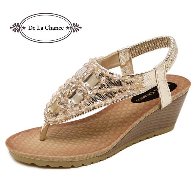 6302c9b018 De La Chance Size 34-42 Bohemian Women Sandals Beaded Summer Beach Thong Wedge  Sandals Women Trifle Slides Female Shoes Gold