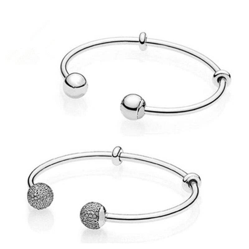 Bracelet en cristal à Double tête en argent Sterling 925 avec bracelet à breloques et bracelet bijoux à bricoler soi-même