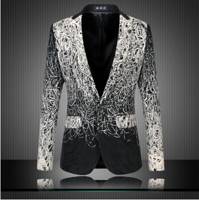 Fashion 2018 New Design Men Blazer Floral Suit Personality Casual Blazer For Men Blazer Slim Fit Jacket Men Plus Size 5XL 6XL