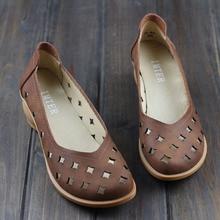 Женские туфли-лодочки скольжения на пятки обувь Туфли из 100% натуральной кожи плотная носком и вырезами женская летняя обувь (H85)
