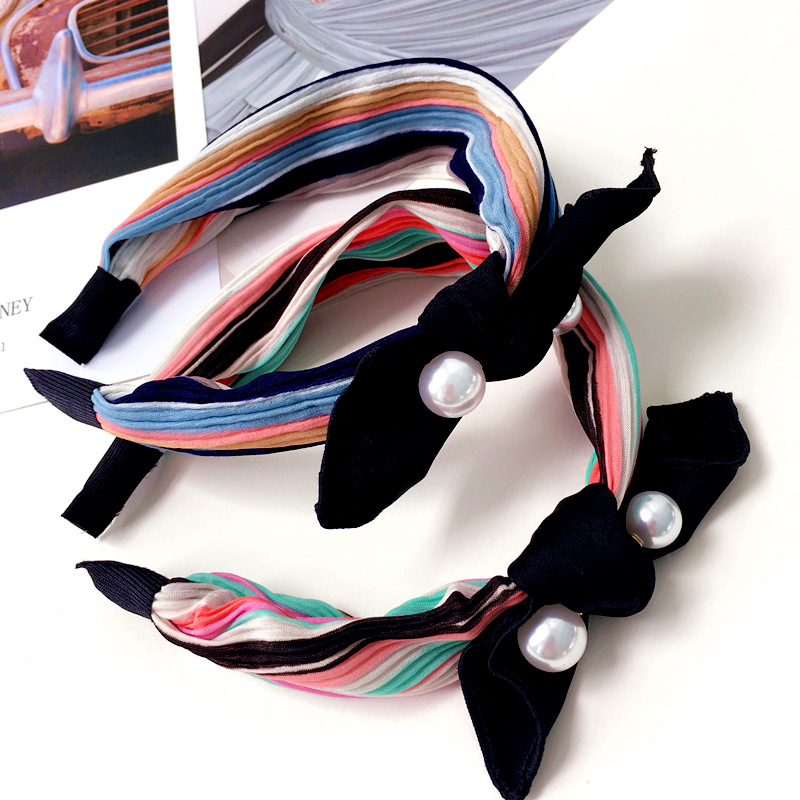 Korea Handmade New Fashion Rainbow Striped Rabbit ears Cloth Hairbands for Adult women Head wear Hair Accessories-SWAWHRB016C5