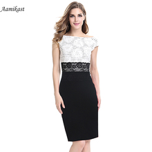 AAMIKAST Women Dresses New Fashion 2018 Elegant Slash Neck Parchwork Lace Dress Tunic Retro Summer Business Party S-4XL