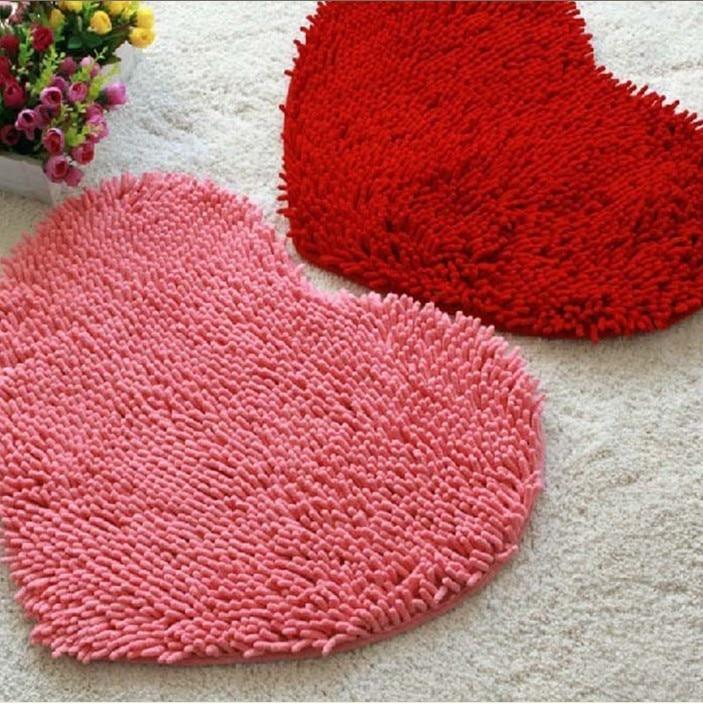 Pink Heart shapedcarpet Pad Microfiber Chenille Heart Shaped for Romance  Bathroom Carpet Anti Slip Floor Mat Absorbent in Mat from Home   Garden on. Pink Heart shapedcarpet Pad Microfiber Chenille Heart Shaped for