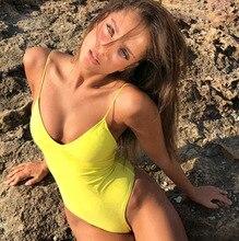 цена One Piece Swimsuit 2019 Solid Swimwear Women Sexy Deep V-neck Cross Back Monokini Print Bikini Set Bodysuit Beach Bathing Suit онлайн в 2017 году