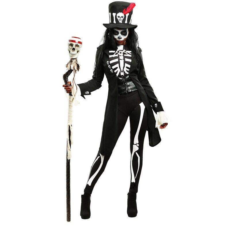 adulto bruja vud misterio esqueleto para mujer disfraz de halloween