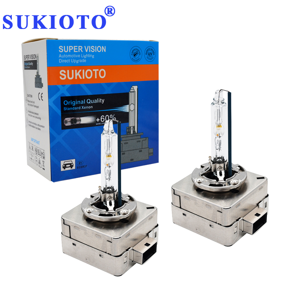 SUKIOTO Original 35W/55W Fast Bright D1S Xenon 5000K 4300K 8000K 6000K D3S Metal Base Claw HID Xenon Bulb Car Headlight Styling