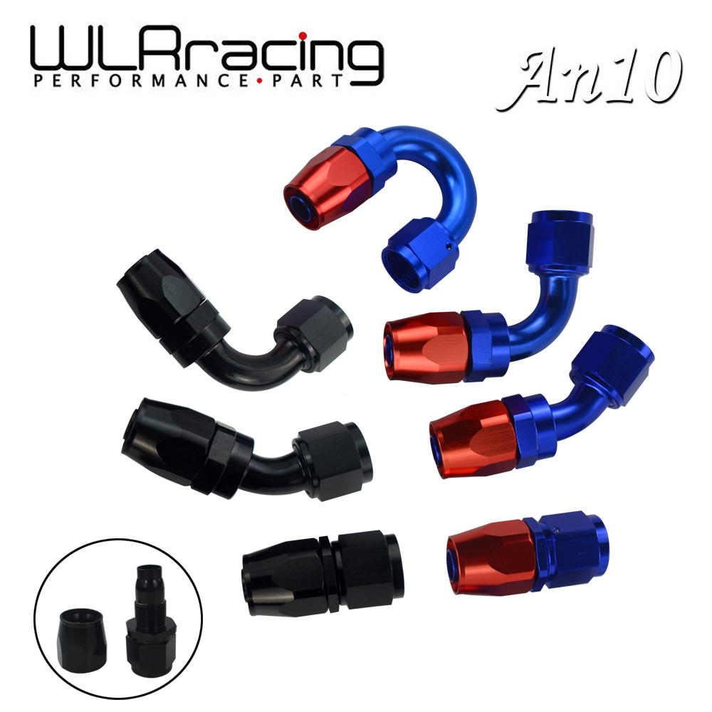 WLR AN10 Oil Fuel Swivel Hose Anoized Aluminum Straight Elbow 45 180 Degree Hose End Oil Fuel Reusable Fitting