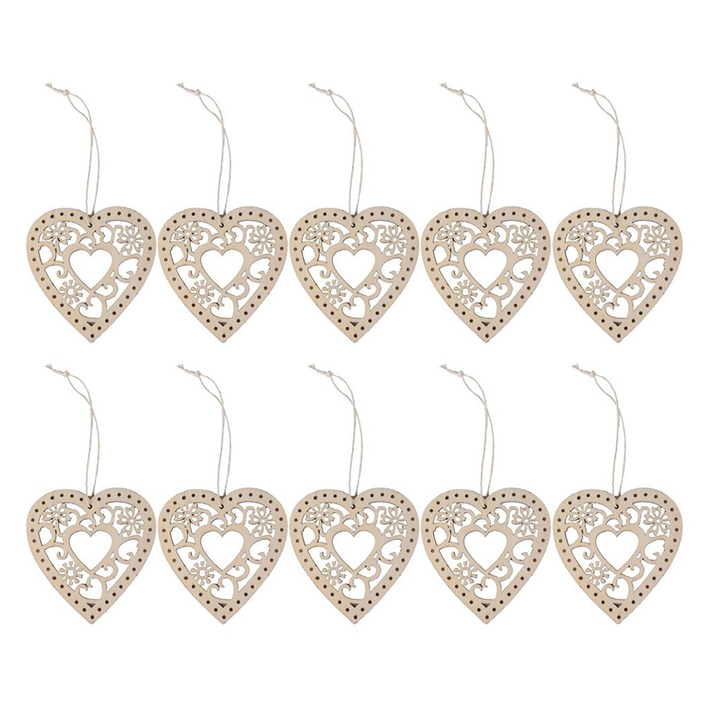 Metal heart ornaments - Easter 10pcs Wooden Hollow Flower Hearts Crafts Wedding Party Decoration Hanging Ornament Wooden Hanging Wood Crafts