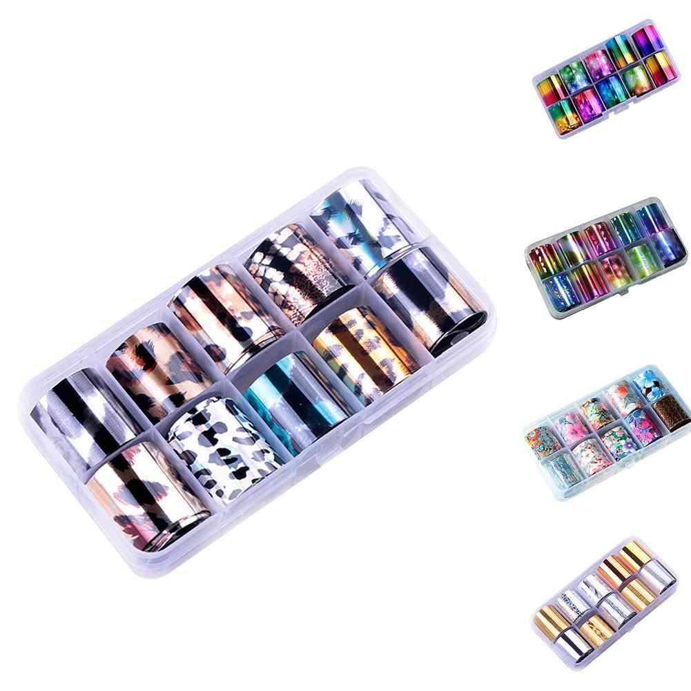 10 ロール/セット 10 メートルグリッターネイルアート箔レーザーヒントステッカー DIY マニキュア装飾ネイルステッカー爪アート装飾