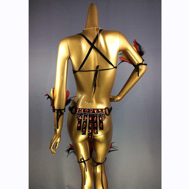 Envío Gratis, nuevo diseño de alta calidad para mujeres, danza del vientre, Samba Carnivel, RIO, sujetador de cristal, traje, traje de bailarina C017
