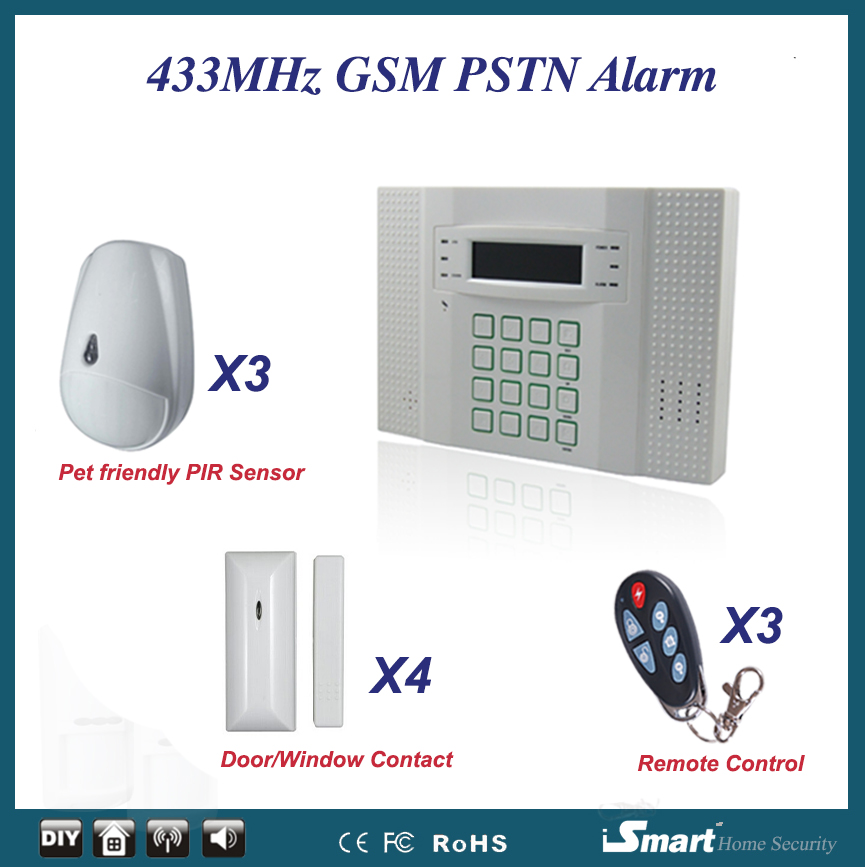 High Quality 433MHz GSM Wireless Home Alarm System with Cat/Dog Friendly Motion Sensor+Door Window Sensor+Remote Controller high quality hot sale 100db wireless alarm system burglar safely security window door home magnetic sensor best promotion