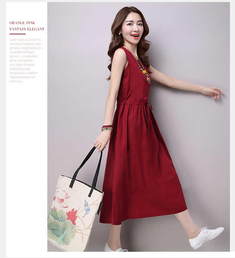 Женское платье новые летние элегантный модный, больших размеров платья без рукавов средней длины платье высокого качества из хлопка и льна платье ok221