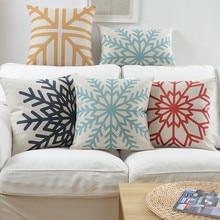 Decorative Throw Pillow Case Cover Geometric Abstract Snowflakes Cotton Linen Cushion Cover for Sofa Home Decor Capa de almofada цены