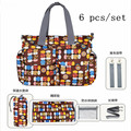 6 pcs/set Fashion Mummy Bag for Baby Nappy Bags Large,9 Colors Diaper and Mother Bags,Good Quality Multifunction Nappy Bags