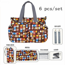 6 pcs/set Fashion Mummy Bag for Baby Nappy Bags Large,9 Colors Diaper and <font><b>Mother</b></font> Bags,Good Quality Multifunction Nappy Bags