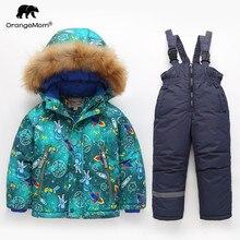 Orangemom resmi mağaza 2018 moda yürüyor Boys giyim seti kalınlaşmak kışlık ceketler çocuklar için giyim ve mont kayak kar