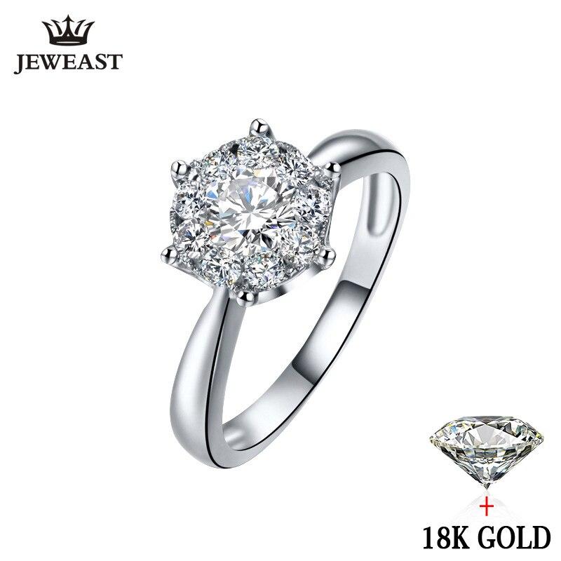 18 К золото кольцо с бриллиантом для женщин Девушка любовник пара подарок натуральный большой алмаз классический шесть коготь 1CT 2CT карат под...