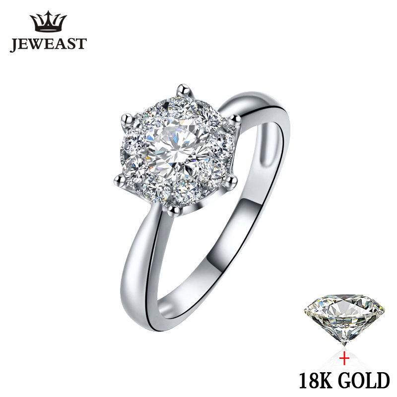18K Gold Diamond Ring Women Girl Lover Couple Gift Natural Large Diamond Classic Six Claw 1CT 2CT Carat Genuine Wedding Propose one piece sweet openwork footprint lover couple ring