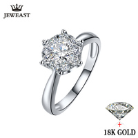18K Gold Diamond Ring Women Girl Lover Couple Gift Natural Large Diamond Classic Six Claw 1CT 2CT Carat Genuine Wedding Propose