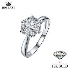 18K خاتم من الذهب والألماس النساء فتاة عاشق زوجين هدية الطبيعية الكبيرة الماس الكلاسيكية ستة مخلب 1CT 2CT قيراط حقيقية الزفاف اقتراح