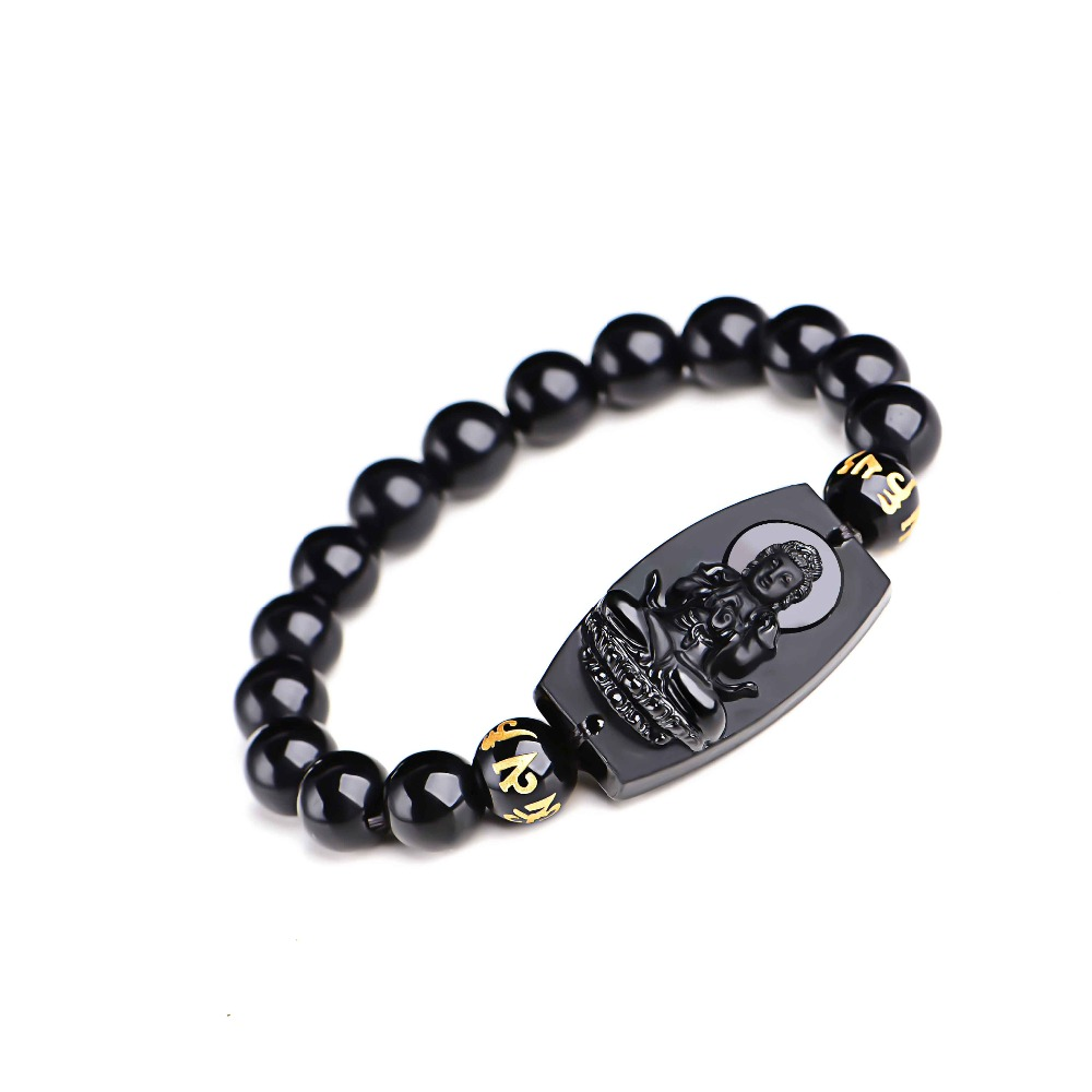Natural Black Obsidian Buddha Bracelet 4