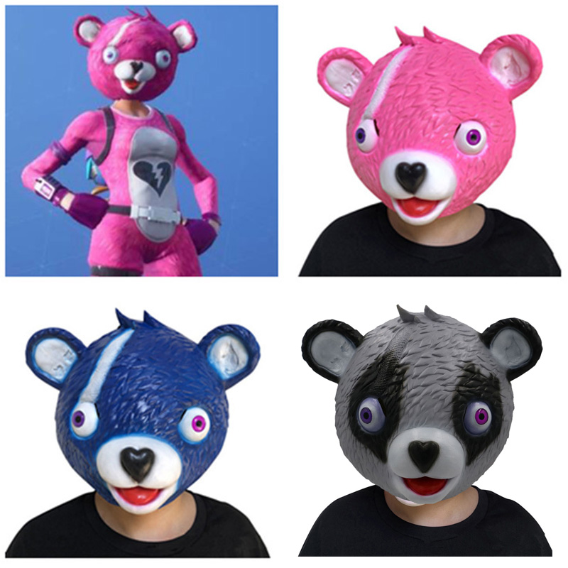 ZSQH Fortress night game Battle Royale Pink Bear Mask Cosplay Fortnight latex kids Adult Helme Halloween fortnited