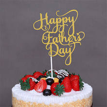 1PCS Happy Father S Day Gold Paper Cupcake Toppers Mothers Fathers Birthday Cakes Party Gifts Decoration