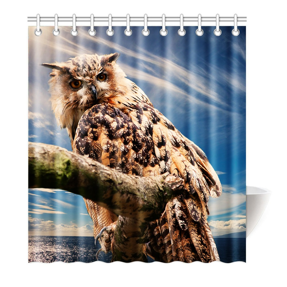 The funny owl gazes at you Shower Curtain Printing Waterproof Mildewproof Polyester Fabr ...