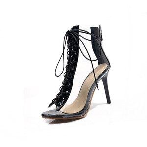 Image 2 - Женские Прозрачные ботинки MORAZORA, черные ботинки гладиаторы с открытым носком, на тонком высоком каблуке, ботильоны для женщин, лето 2019