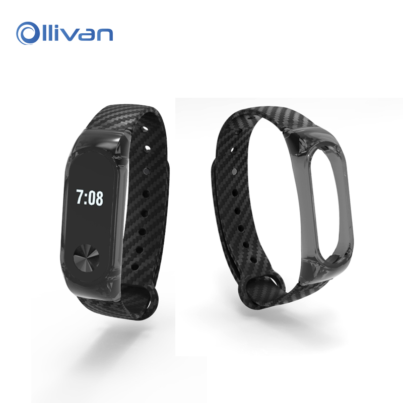Ollivan Silicone Crystal Carbon Fiber Strap For Xiaomi Mi Band 2 Smart Wristband Smart Bracelet Extended Strap For Xiaomi Band 2