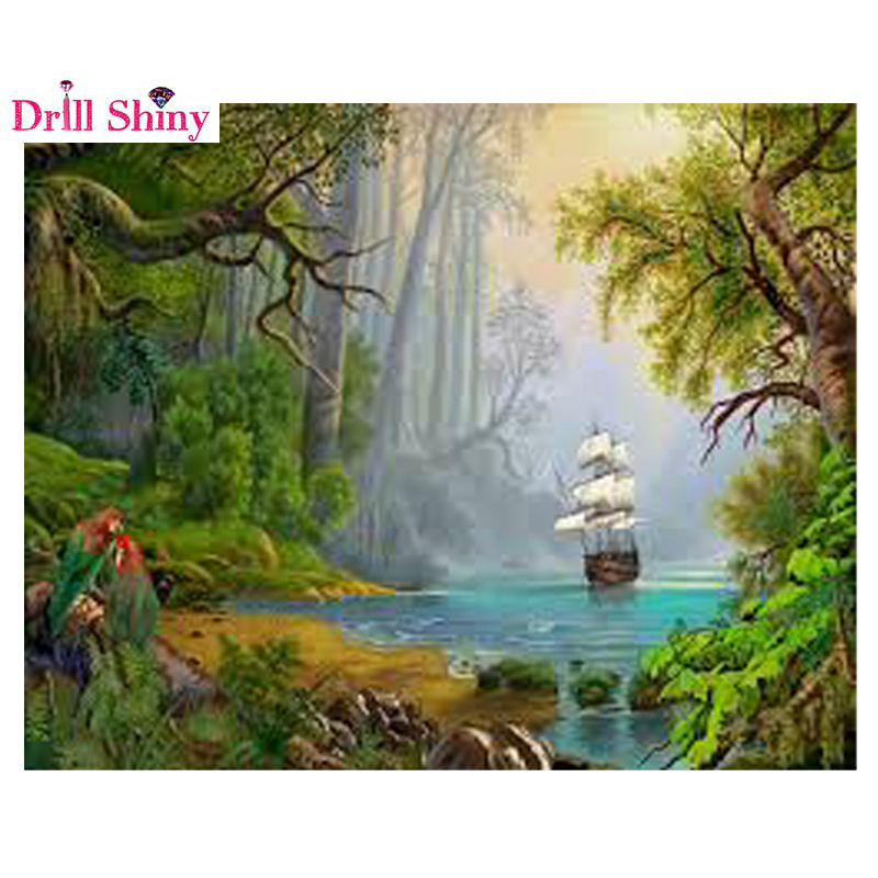 5D DIY Diamond Painting River Crystal Diamond Painting Cross Stitch Needlework Beautiful Weeping Willow Home Decorative