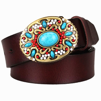 Fashion Women S Genuine Leather Belt Mosaic Gem Turquoise Belts Metal Buckle Arabesque Pattern Retro Woman