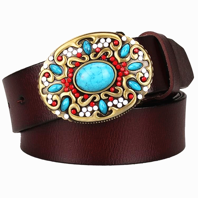 Fashion women's Genuine leather belt mosaic gem turquoise belts metal buckle arabesque pattern retro woman decorative belt gift