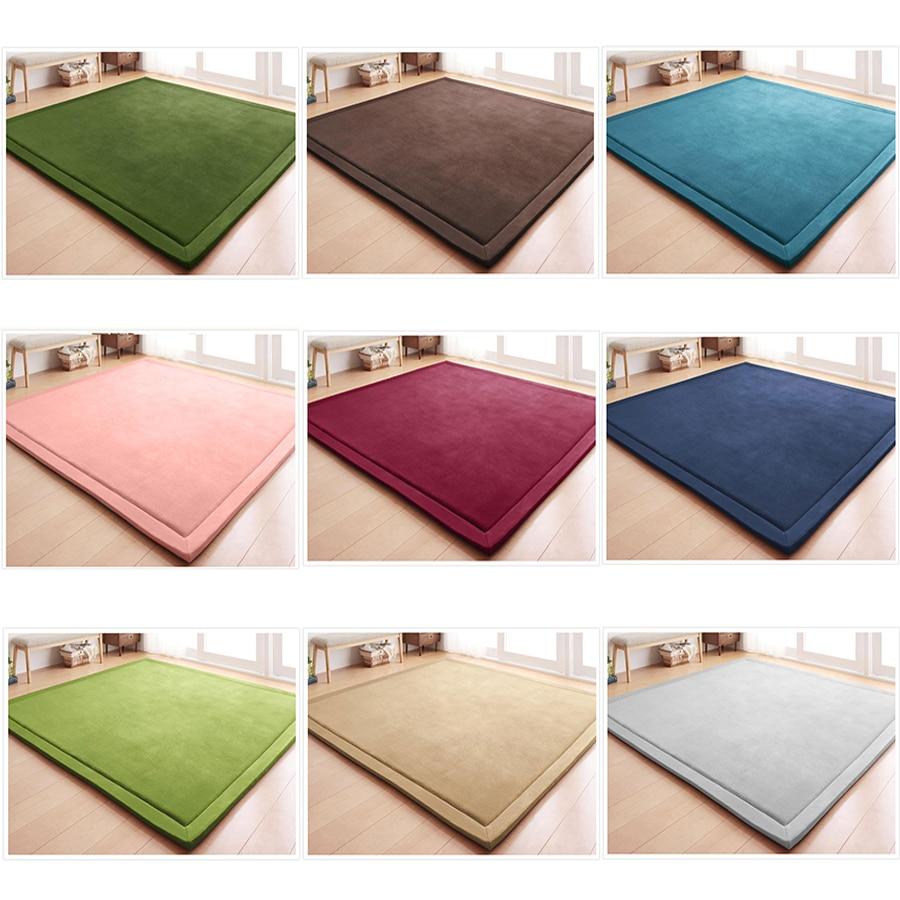 Loartee corail polaire maison couleur unie Style minimaliste tapis chambre salon chambre enfants tapis de Yoga enfants tapis de jeu