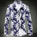 Free shipping 2015 brand new summer dress top fashion classic flower Hawaiian shirt men long sleeve plus size beach summer M-6XL
