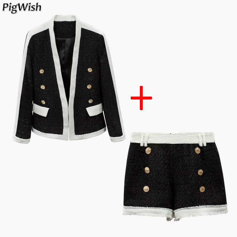 Newest Fashion Runway 2019 Suit Set Women s Double Breasted Lion Buttons Tweed Blazer Coat Shorts
