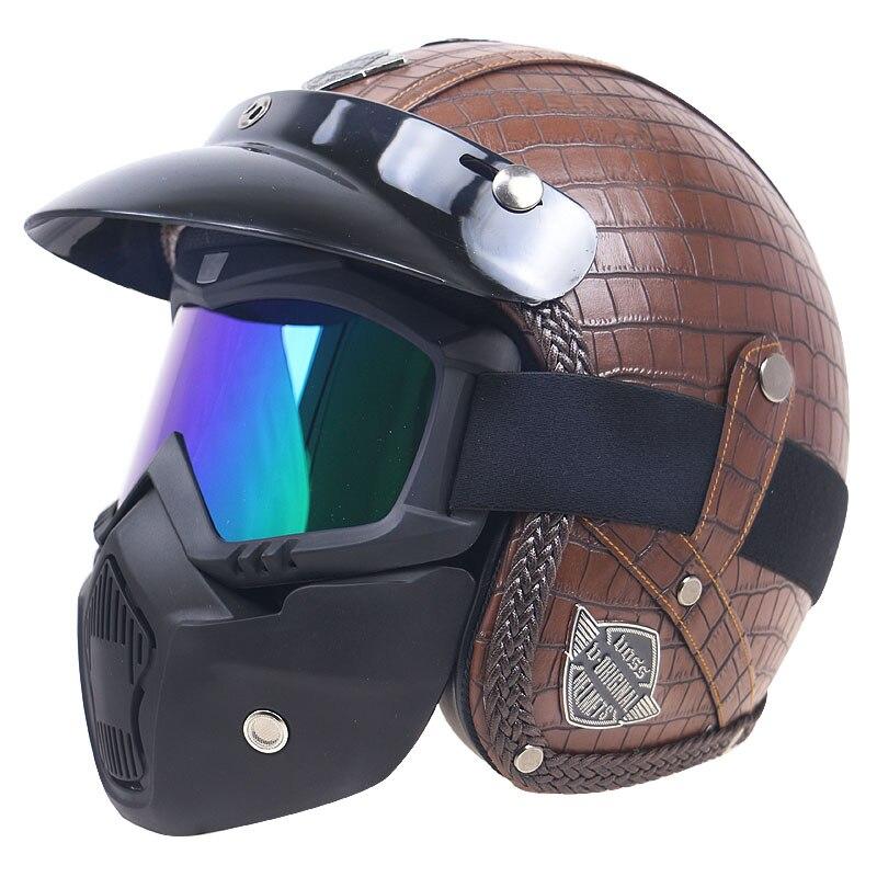 Mode PU cuir couvert Vintage moto casque masque options visage ouvert rétro casque adultes casco pour homme et femme