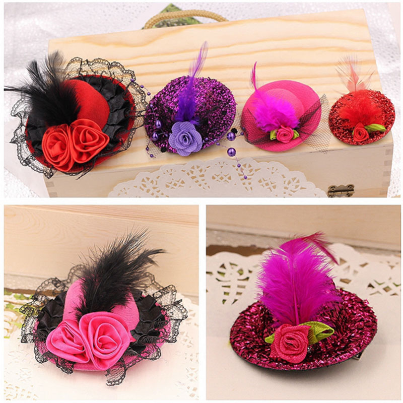 New Fashion Ribbon Flower Cute 5cm Party Cap Hairpins Festival Hat Hair Clip With Fur Children Hair Accessories Baby Hair Clip Complete In Specifications Apparel Accessories