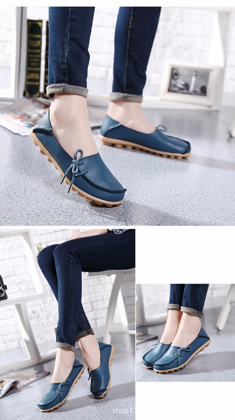 2016 New Real Leather Woman Flats Moccasins Mother Loafers Lacing Female Driving Casual Shoes In 16 Colors Size 34-44 ST179 (31)