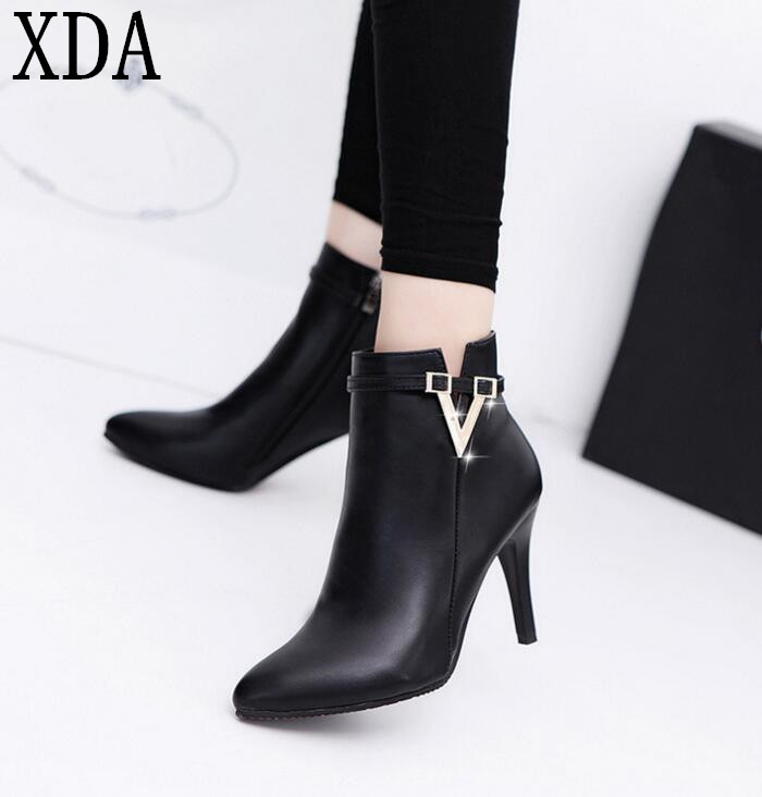 XDA 2017 Spring Autumn Stiletto Thin High Heels Pointed Toe Faux Leather Zipper Style Sexy Ankle Womens Boots W94