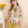 Impresión linda camiseta Suéter de Las Mujeres de Lino Flojo Tops Para Las Mujeres Grandes Del Verano Estilo Vintage Casual Tops Tallas grandes T5658