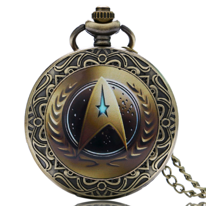Vintage Classic Star Trek Theme Bronze Quartz Pocket Watch Antique Fob Watches Men Women Gift With Necklace Chain wholesale fashion quartz eye pyramid fob watches men gift pocket watch necklace women antique retro classic bronze father hot